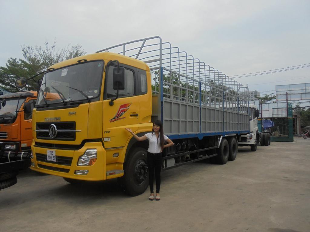 Tải thùng Dongfeng 3 chân - 13 tấn, 13.5 tấn - Thùng Mui bạt Hoàng Huy
