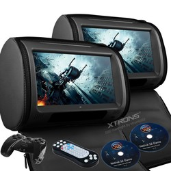 Đầu DVD di động cảm ứng XTRONS 2X Black 9 Touch Screen Pillow Car Headrest Monitor DVD Player FM Game