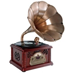 Máy nghe nhạc cổ điển Pyle Home PTCDS3UIP Classical Trumpet Horn Turntable with AM/FM Radio CD/Cassette/USB Direct to