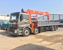 Xe tải Auman 4 chân gác cẩu Kanglim 10 tấn.