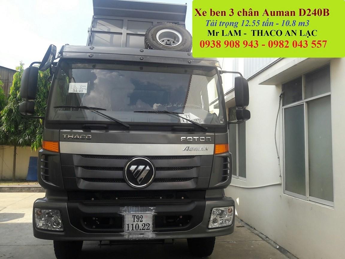 Xe ben 3 chân Thaco Auman D240B 14.5 tấn/ xe ben 10 khối Auman D240B cầu dầu 2 cấp Ảnh số 41564520
