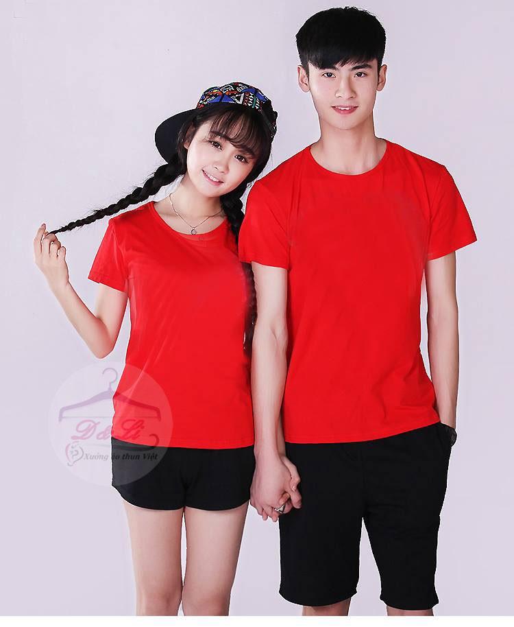 Áo phông trơn màu đỏ cotton 4 chiều giá sỉ toàn quốc Ảnh số 41721713