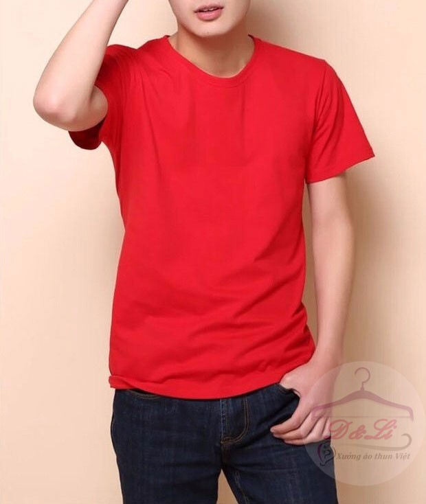 Áo phông trơn màu đỏ cotton 4 chiều giá sỉ toàn quốc Ảnh số 41721716