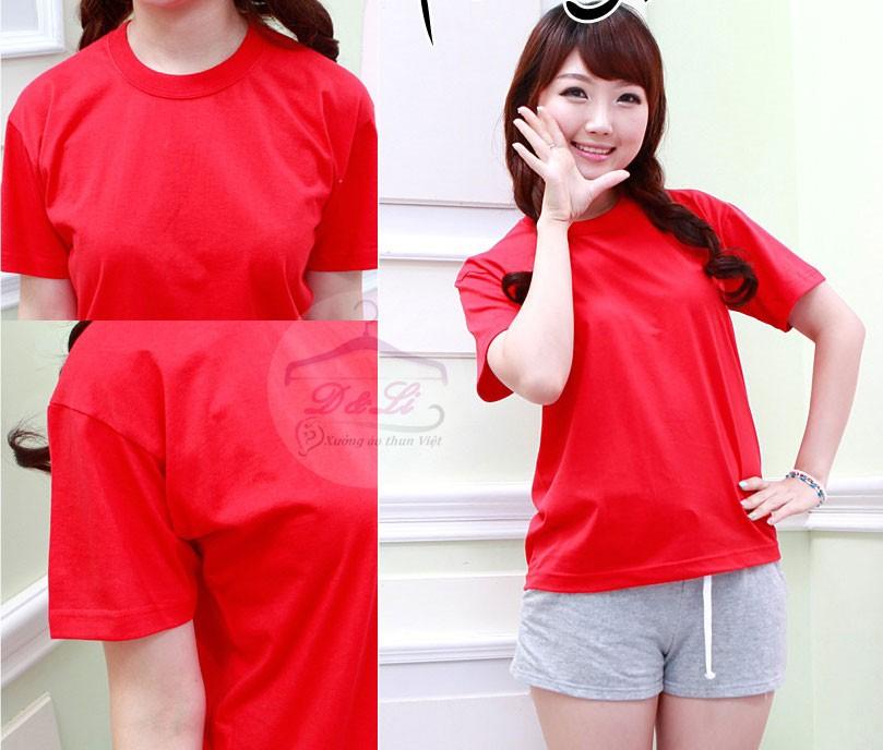 Áo phông trơn màu đỏ cotton 4 chiều giá sỉ toàn quốc Ảnh số 41721720