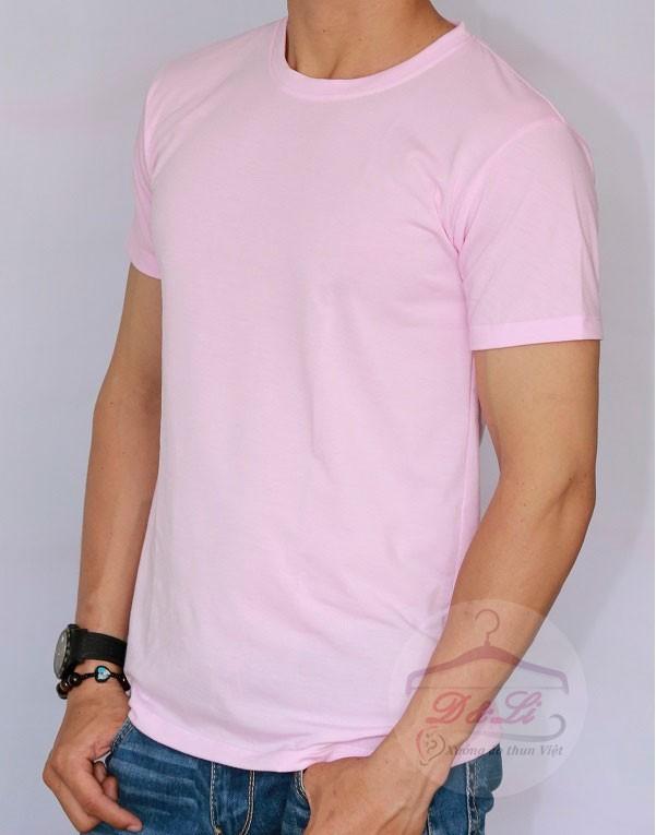 Áo phông trơn màu hồng cotton 4 chiều giá sỉ Ảnh số 41728171