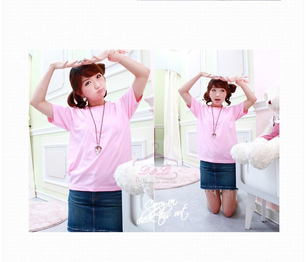 Áo phông trơn màu hồng cotton 4 chiều giá sỉ Ảnh số 41728174