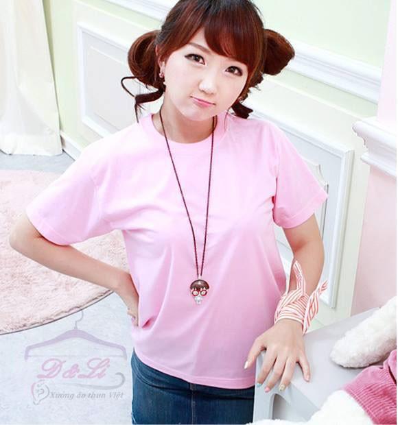 Áo phông trơn màu hồng cotton 4 chiều giá sỉ Ảnh số 41728175