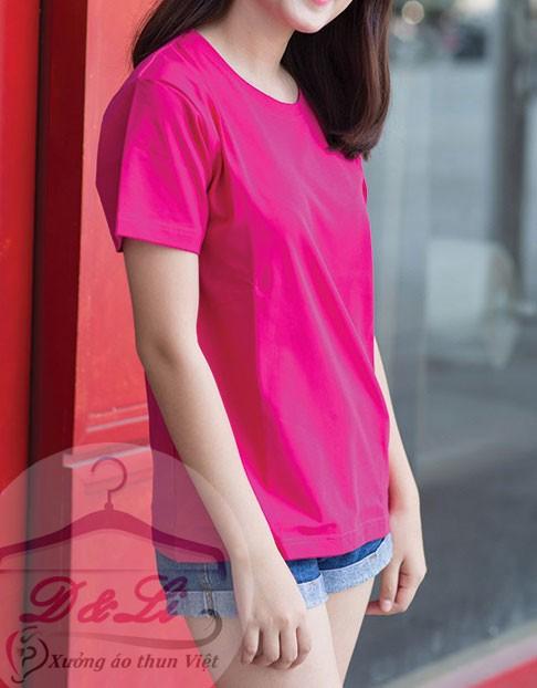 Áo phông trơn màu hồng cotton 4 chiều giá sỉ Ảnh số 41728184