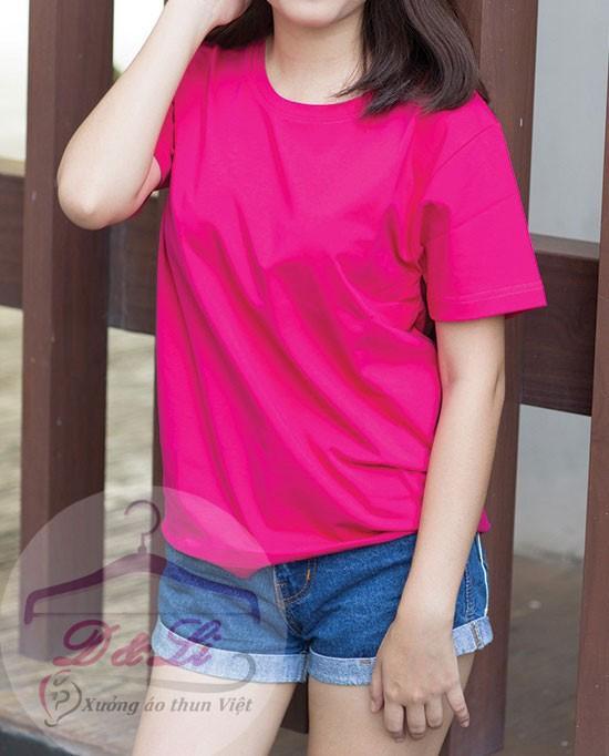 Áo phông trơn màu hồng cotton 4 chiều giá sỉ Ảnh số 41728187