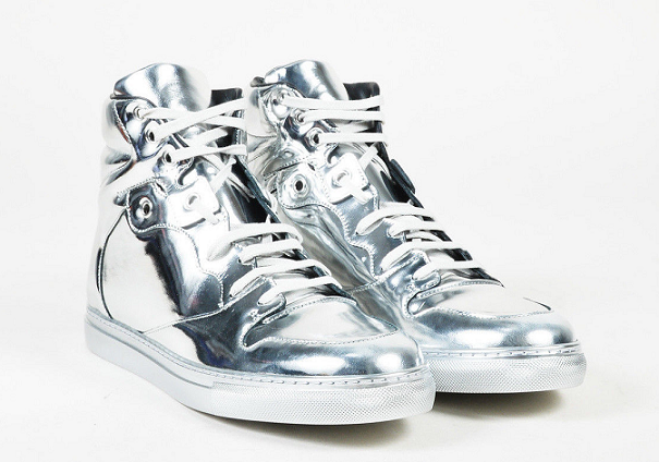 Giày Balenciaga Metallic Silver Mirror Leather High Top Lace up Sneakers nam và nữ Ảnh số 42005338
