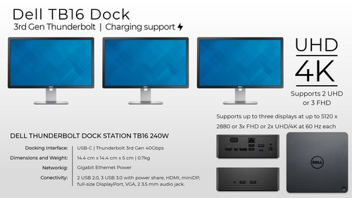 Ảnh số 4: Dell TB16 Thunderbolt Dock, Dell Business Thunderbolt Dock TB16 with 240W Adapter.. New Box