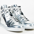Giày Balenciaga Metallic Silver Mirror Leather High Top Lace up Sneakers nam và nữ