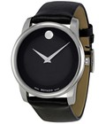 Hình ảnh: Movado Men s 0606502 Museum Stainless Steel Watch with Black Leather Band