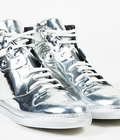 Hình ảnh: Giày Balenciaga Metallic Silver Mirror Leather High Top Lace up Sneakers nam và nữ